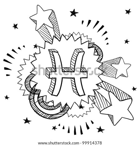 Doodle style zodiac astrology symbol on 1960s or 1970s pop explosion background - Pisces