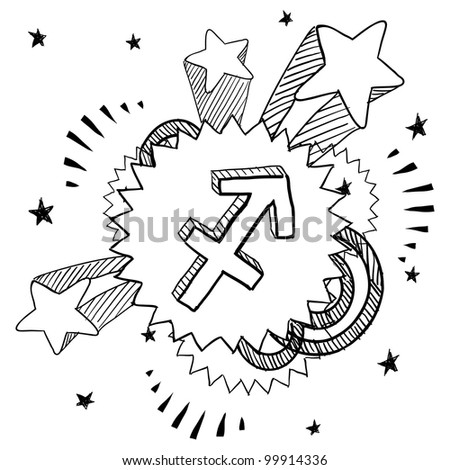 Doodle style zodiac astrology symbol on 1960s or 1970s pop explosion background - Sagittarius