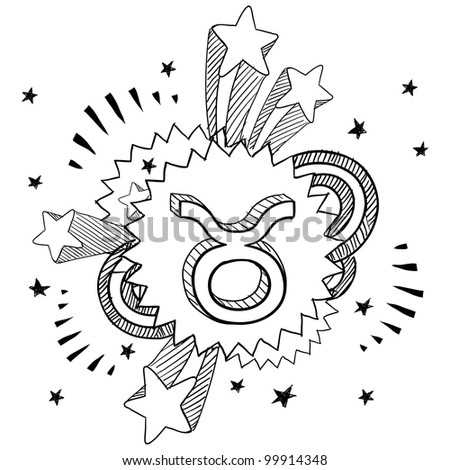 Doodle style zodiac astrology symbol on 1960s or 1970s pop explosion background - Taurus