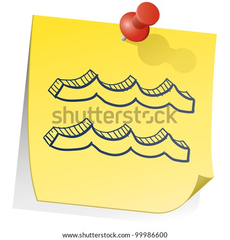 Doodle style zodiac astrology symbol on sticky note background - Aquarius - stock vector