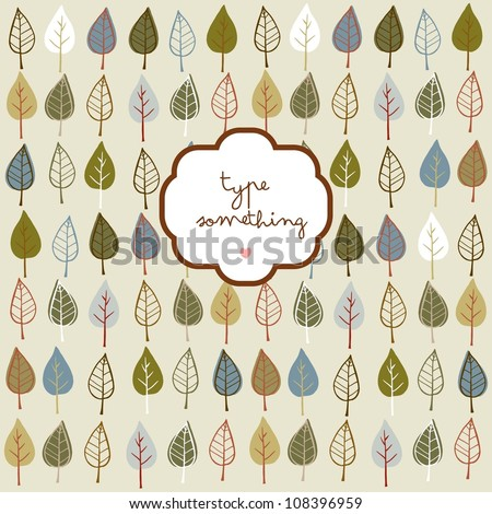 Doodle stylized leaves background with a text frame.
