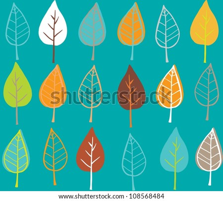 Doodle stylized leaves seamless pattern. - stock vector