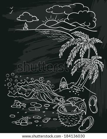 Doodle summer beach poster on chalkboard - stock vector