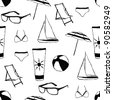 doodle summer seamless pattern - stock vector
