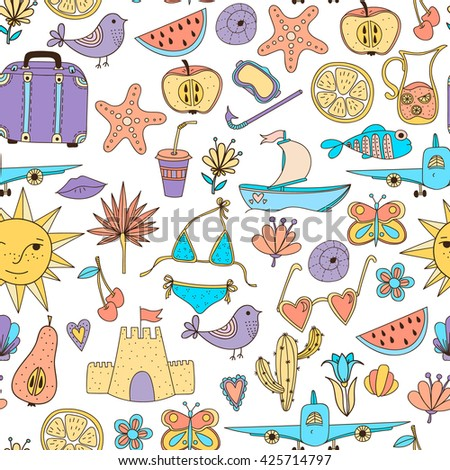 Doodle summer set vector seamless pattern. Vacation hand drawn  illustration background.