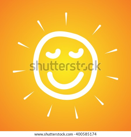Doodle sun smile face on yellow background.