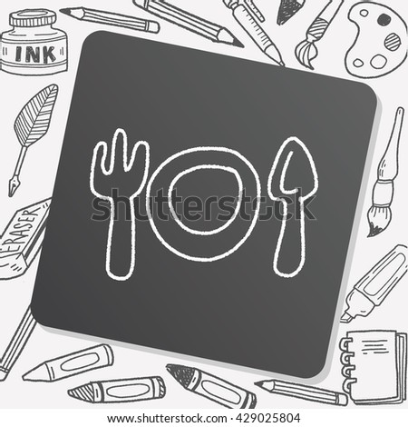 doodle Tableware - stock vector