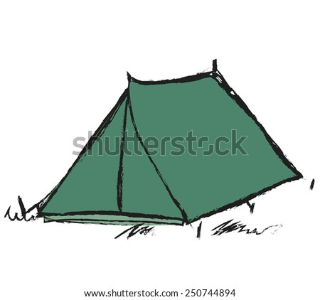 doodle tent, vector illustration