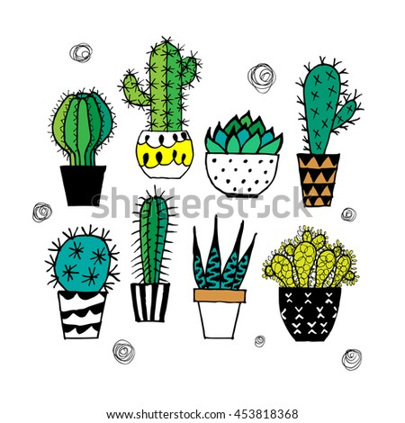 Doodle textured cactuses.
