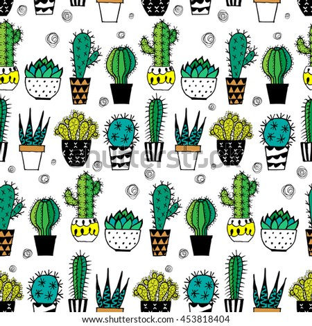 Doodle textured cactuses. Seamless pattern.