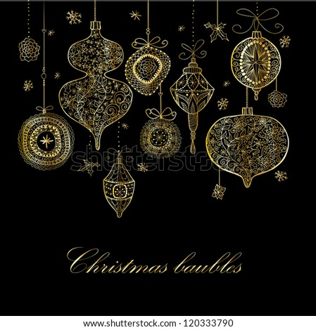 Doodle textured Christmas baubles background. - stock vector
