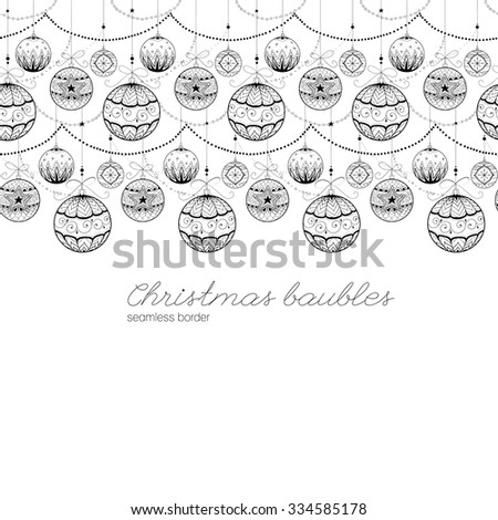 Doodle textured decorations. Seamless border. - stock vector