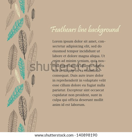 Doodle textured feathers seamless line. - stock vector