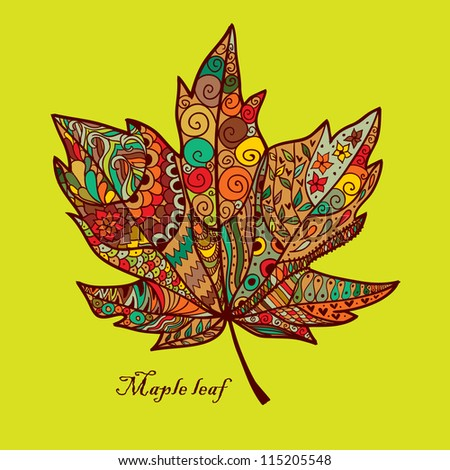Doodle textured maple leaf. - stock vector