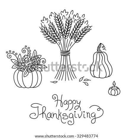Doodle Thanksgiving Vintage Sheaf of Wheat and Pumpkin Freehand Vector Drawing Isolated. - stock vector