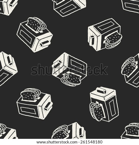 Doodle Toaster seamless pattern background - stock vector