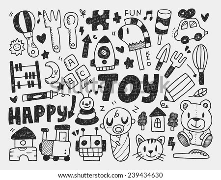 doodle toy background - stock vector