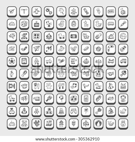 doodle toy icons - stock vector