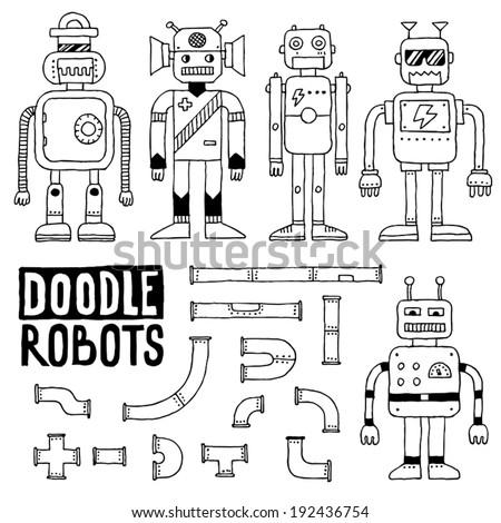 Doodle toy robots set. Vector illustration. - stock vector