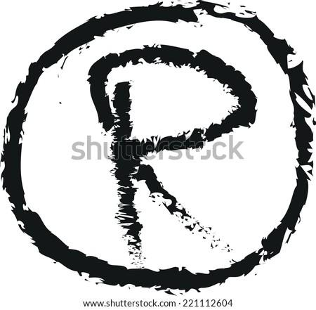 doodle trademark R vector - stock vector