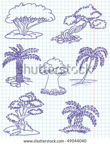 Doodle trees set #1 (date palm, coconut palm, juniper, yew, elm, myrtle, box) - stock vector