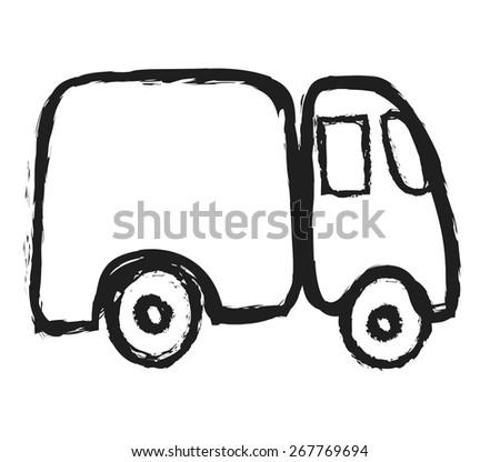 doodle truck, vector illustration - stock vector