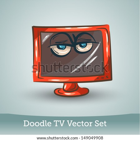 Doodle TV set - stock vector