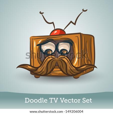 Doodle TV set, funny mustache - stock vector
