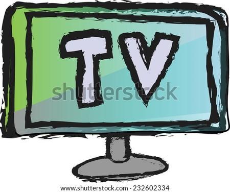 doodle TV, vector - stock vector