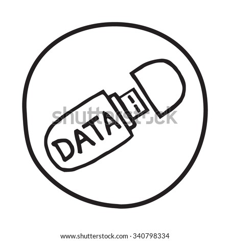 Doodle USB memory stick icon. Infographic symbol in a circle. Line art style graphic design element. Web button. Saving files, data security, portable concept. - stock vector