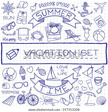 Doodle vacation icons set, pen drawn on paper effect. Vector illustration. - stock vector