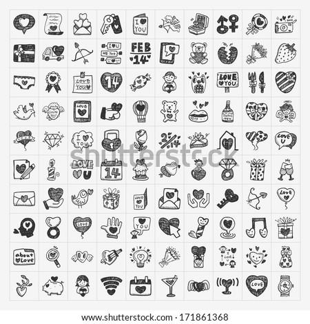 doodle Valentine's Day icon - stock vector
