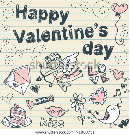 Doodle Valentine's day scrapbook love postcard with hand drawn sketches - stock vector