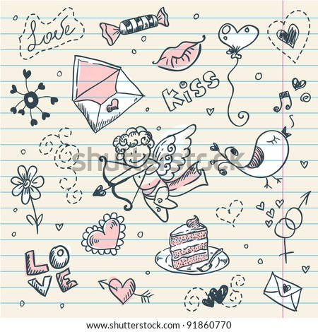 Doodle Valentine's day scrapbook page with love sketch - stock vector