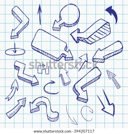 Doodle vector arrow collection, hand drawn illustration on notebook sheet
