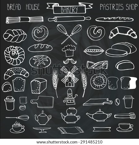 Doodle vector.Bakery,bread,pastries utensils icons set.Linear vintage elements for logo,label,menu,cafe shop. Flat hand drawn isolated items.Chalkboard background - stock vector