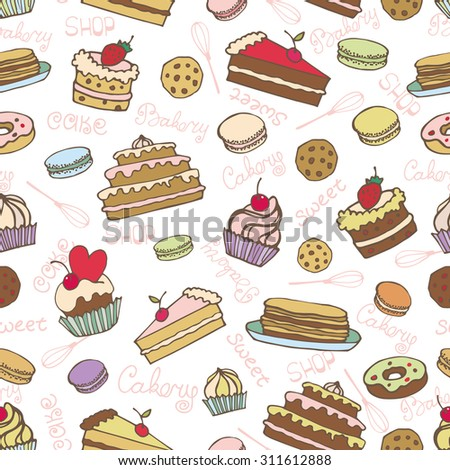 Doodle vector.Bakery,Cakes and dessert,pastries ,lettering seamless pattern.Colored vintage icons,sweet elements background. Flat hand drawn vintage collection.Backdrop,fabric,wallpaper - stock vector