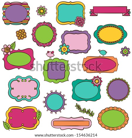 Doodle Vector Collection of Bright Frames and Borders - stock vector