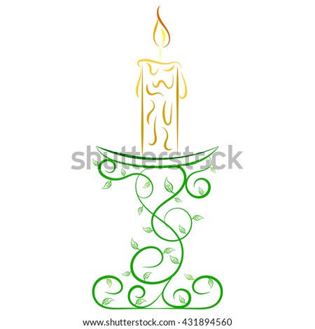 Doodle vector color abstract candle on a stand - stock vector