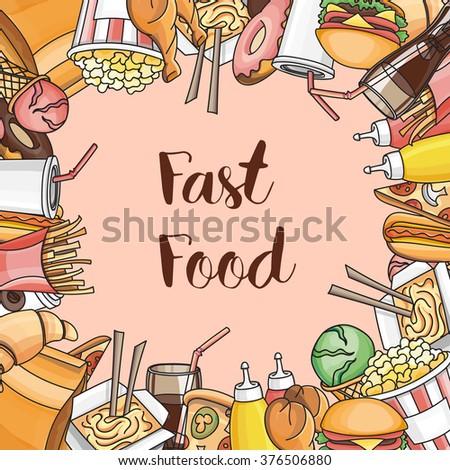 Doodle vector fast food - stock vector