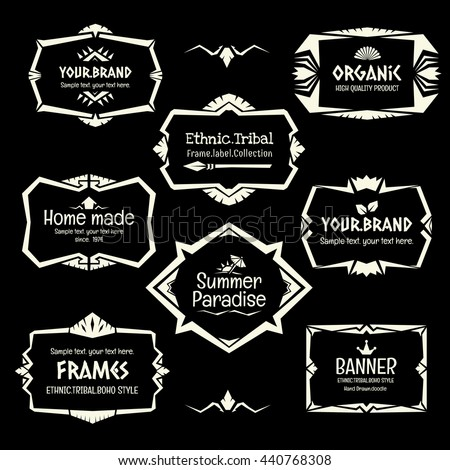 Doodle vector frame set.Ethnic Tribal  style frame collection in monochrome. - stock vector