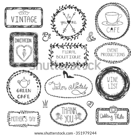 Doodle vector frames, logotype set.Hand drawn logo,titles,vintage Pattern decor.For decorative greeting card,wedding design template, invitations,holiday,cafe design,menu,branding,web.Illustration