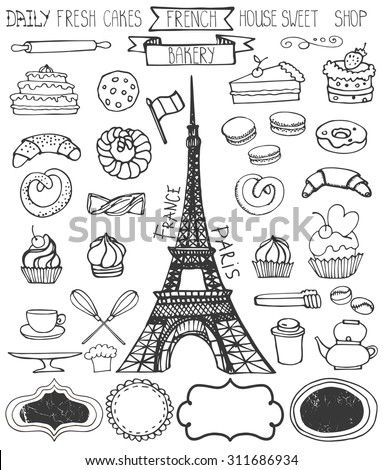 Doodle vector.French Bakery,Cakes and dessert,pastries  icons set and Eiffeltower.Linear vintage elements for logo,label,menu,cafe shop. Flat hand drawn isolated items.Sweet collection - stock vector