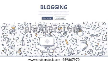 Doodle vector illustration of a man with a laptop creating quality content, writing an article for blog - stock vector