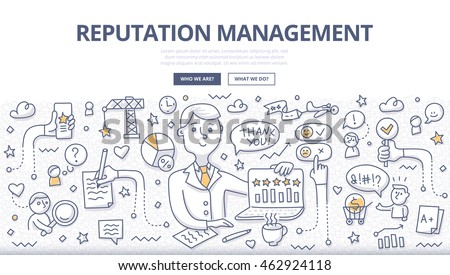 Doodle vector illustration of building relationship with audience, tracking what other say about brand, monitoring good or bad comments, getting potential clients . Concept of reputation management - stock vector