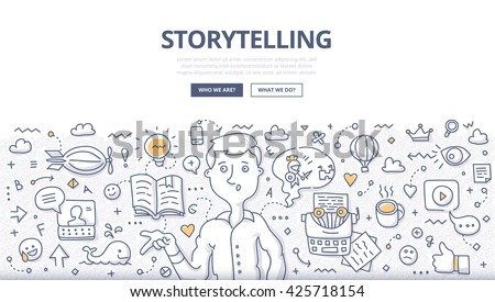 Doodle vector illustration of building social media campaigns around stories, storytelling, producing creative and original ads. Storytelling concept for web banners, hero images, printed materials - stock vector