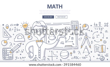 Doodle vector illustration of learning and teaching mathematics. Education concept of math science for web banners, hero images, printed materials - stock vector