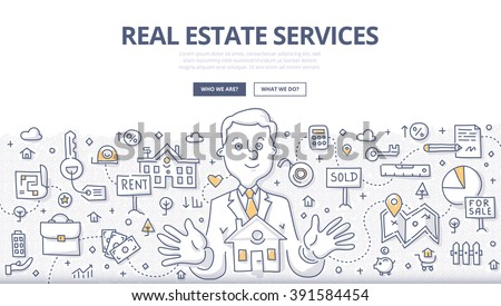 Doodle vector illustration of real estate agent at work. Real estate business concept with property and house mortgage elements for web banners, hero images, printed materials - stock vector