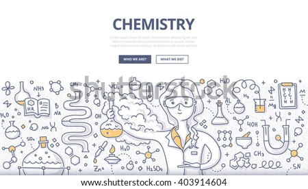 Doodle vector illustration of scientist woman with a chemistry glass explaining chemical reaction. Education concept of chemistry science for web banners, hero images, printed materials - stock vector