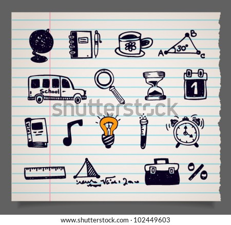 Doodle vector school items icons, set 2. Image contains transparency in sheet shape shadow - you can put it on every surface. EPS 10